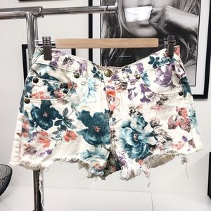 FRER PEOPLE Floral Denim Shorts
